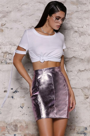 Byron Vegan Leather Skirt in Berry