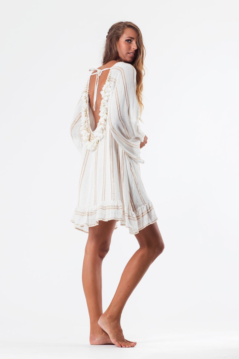 Bobby Metallic Thread Dress in White/Gold
