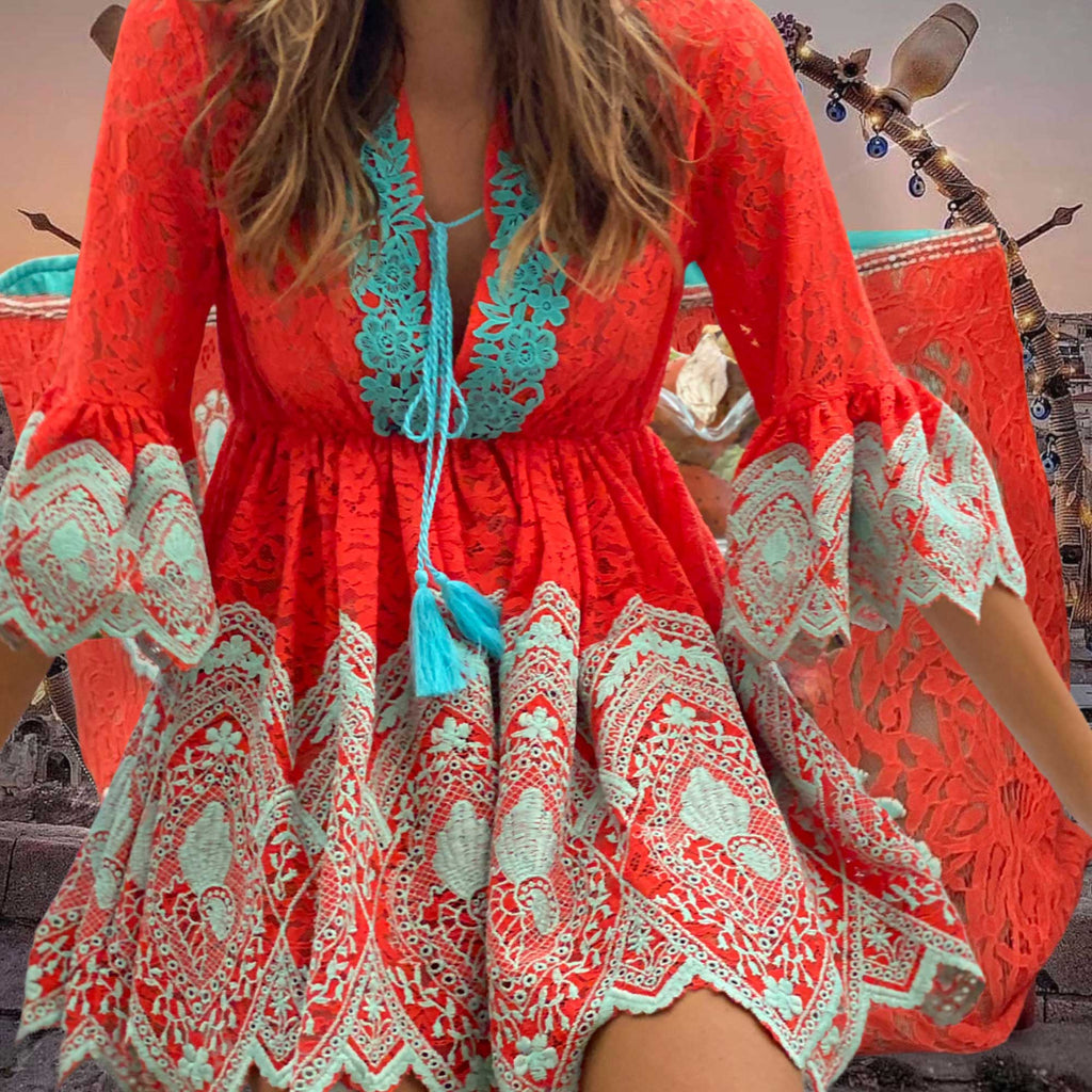 Lace Tunic Dress Donna in Coral