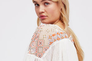 Free People Joyride Embroidered Tulle Top