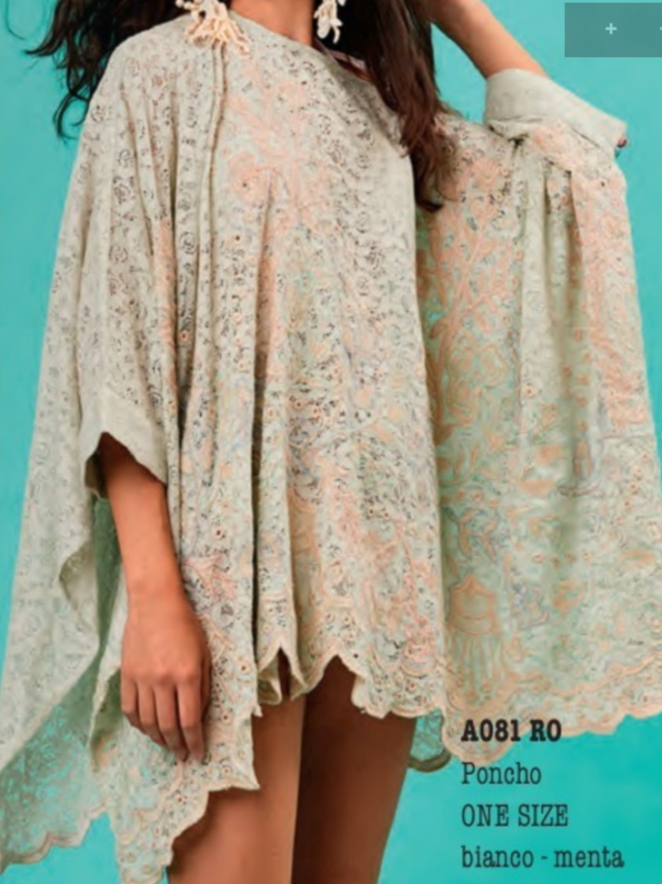 Ella Mint Lace Scalloped Poncho