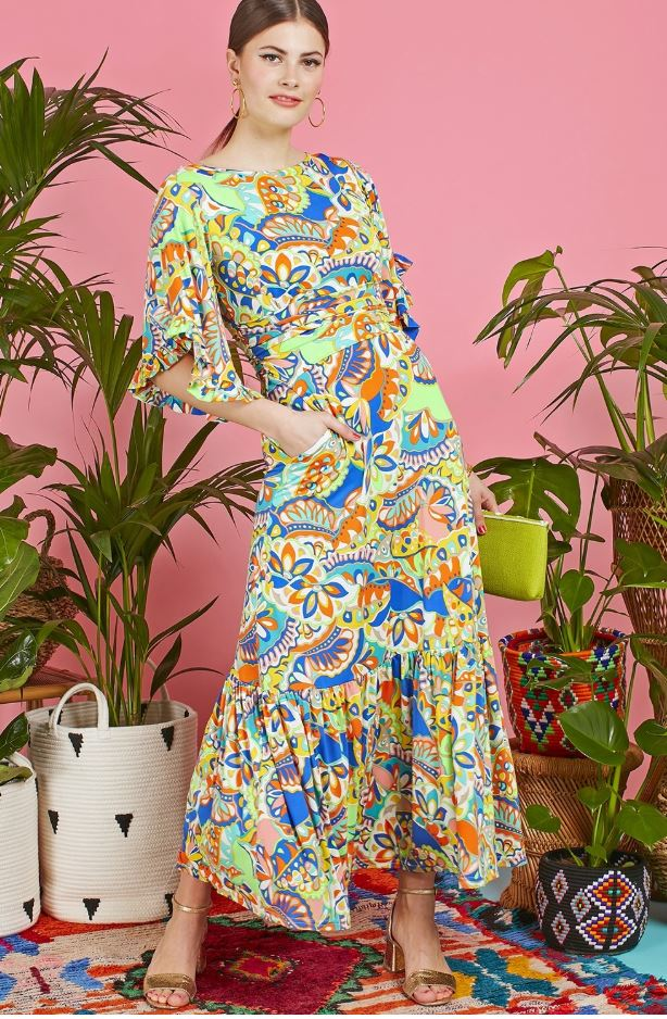 Gabriella Maxi Dress in Iris green Print
