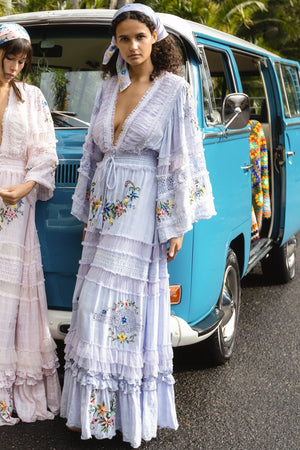 EMBROIDERED MAXI DRESS/DUSTER - Charm your way  IN LAVENDER
