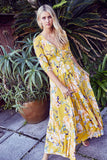 jaase indiana dress in sunflower print
