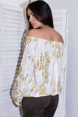 Pleated Cream / Gold off shoulder top Coco