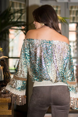 Off Shoulder metallic lace top Choupette in teal