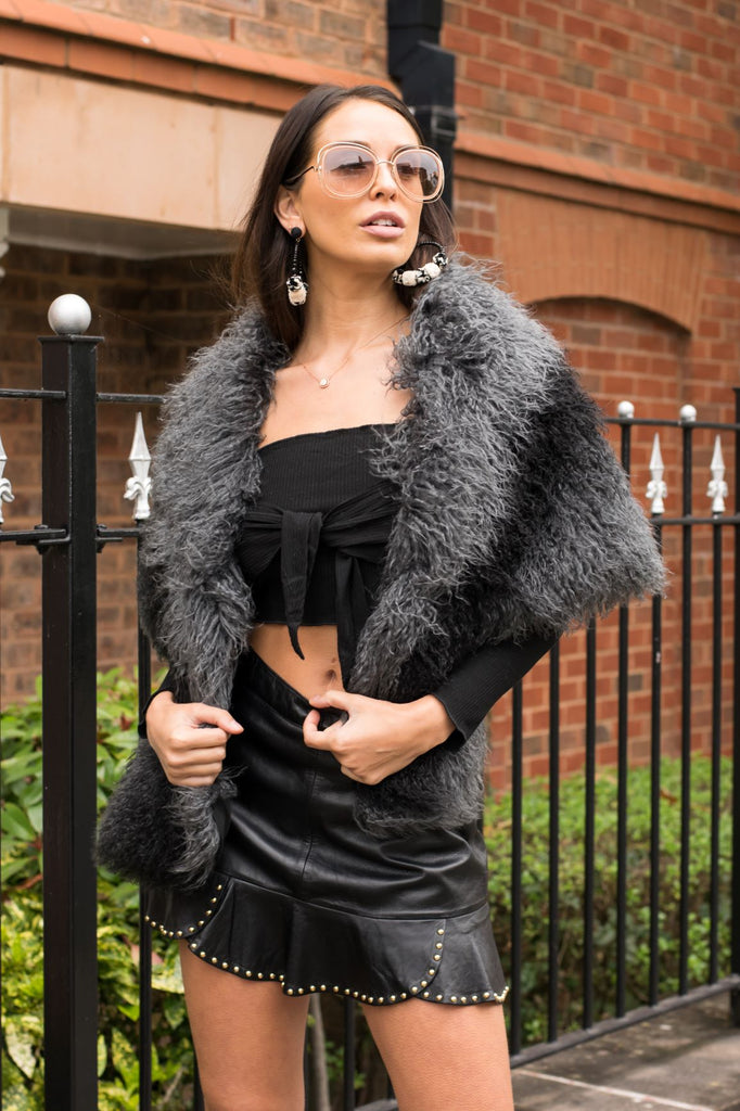 Mongolian Faux Fur Wrap in Black/Grey