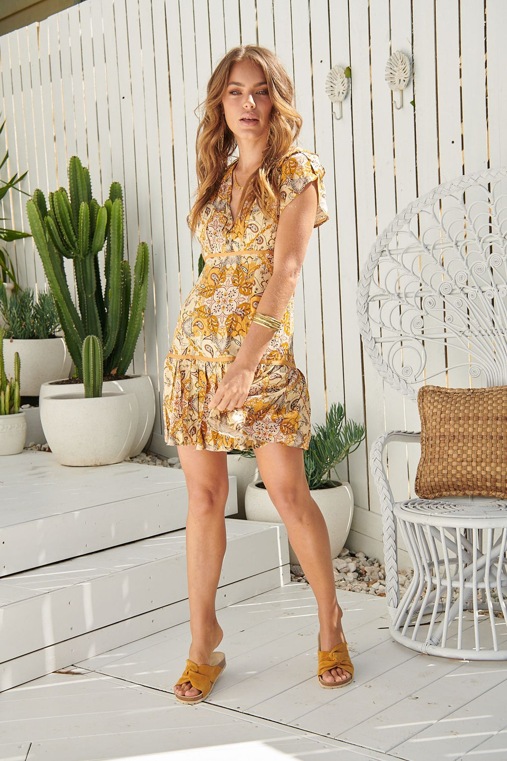 Jaase Alexis Mini Dress in Golden Glow Print