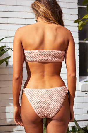 Adrift Pink Crochet side tie bikini bottom