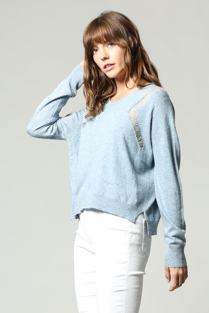 DISTRESSED LIGHT WEIGHT Jumper in powder Blue