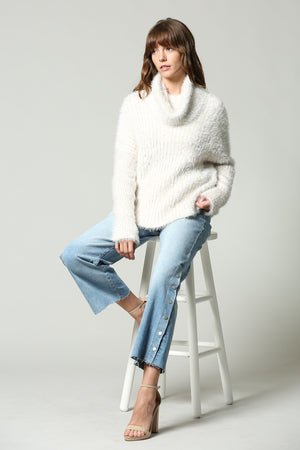 Cowl neck off Whiote Knit Jumper