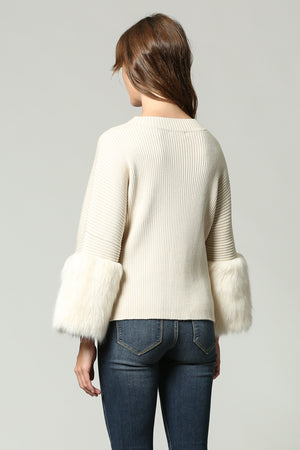 CREAM  Knit Jumper with Faux Fur Sleeve