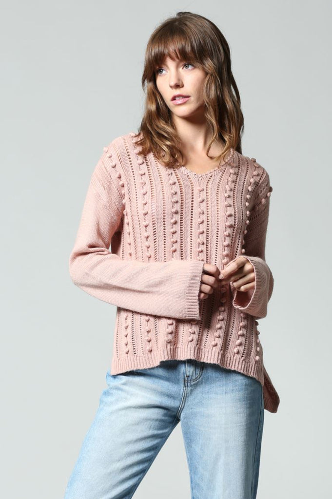 V-NECK PULL OVER SWEATER WITH BABY POM POM DETAIL