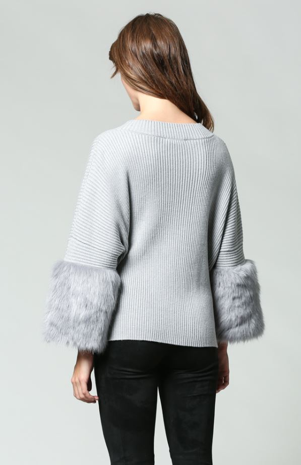 Grey CREAM  Knit Jumper with Faux Fur Sleeve