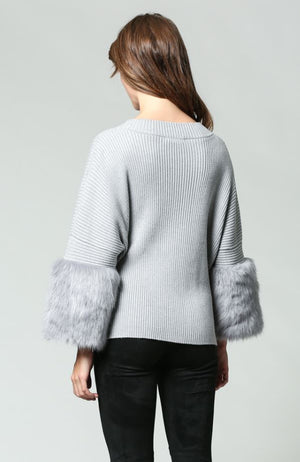 Grey Knit Jumper with Faux Fur Sleeve
