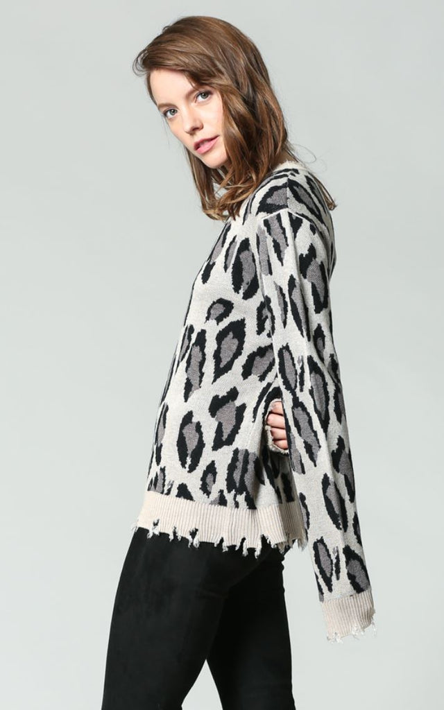 DISTRESSED Animal Print Jumper
