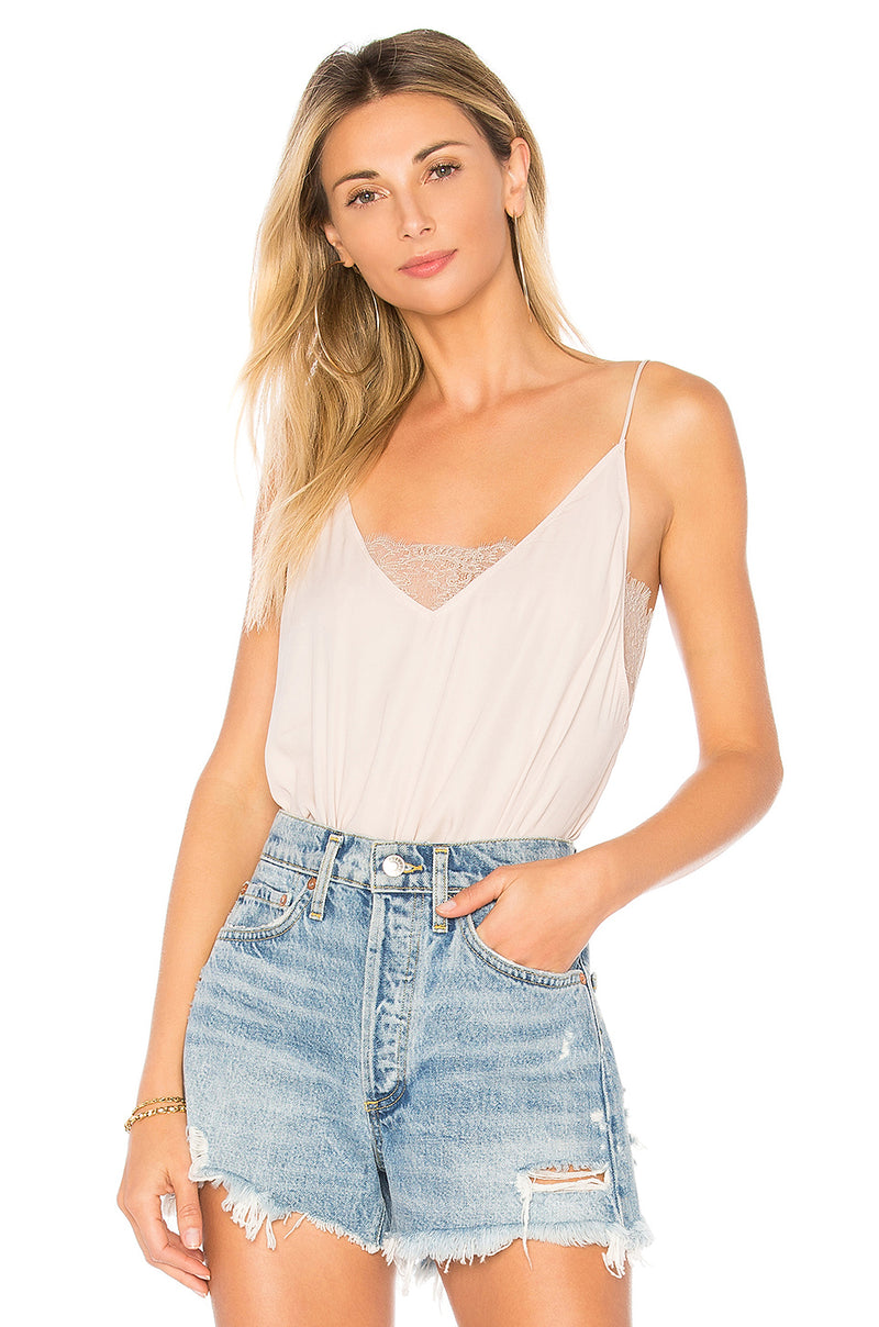 Free People Deep V Bandeau Lace insert Cami in alabaster