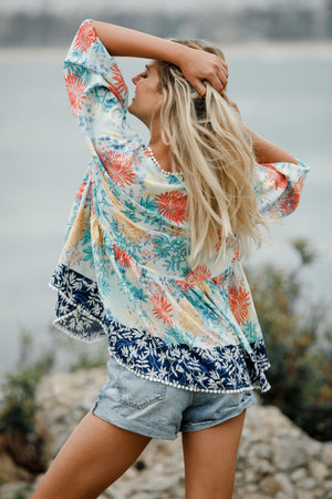 Oversized contrast Coastal Love print top Chloe