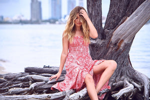 Majorca Red Print Bandeau hi low Dress