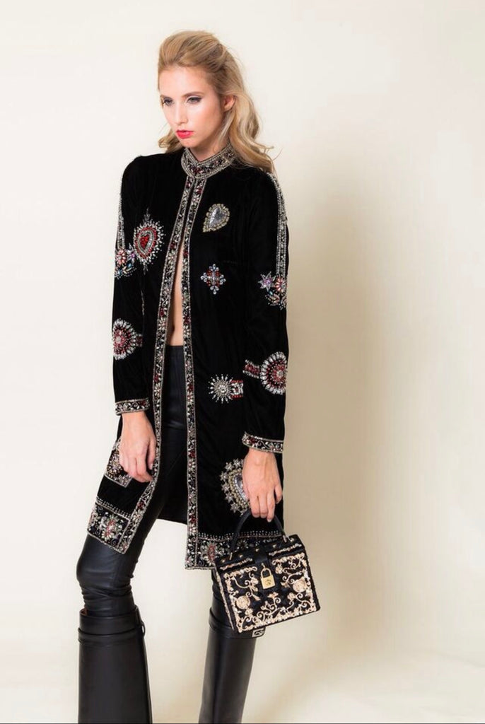 Diamond For Eden Embellished Velvet Coat
