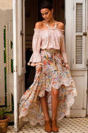 Pastel print Miss June High-Low Embroidery Skirt Gemma