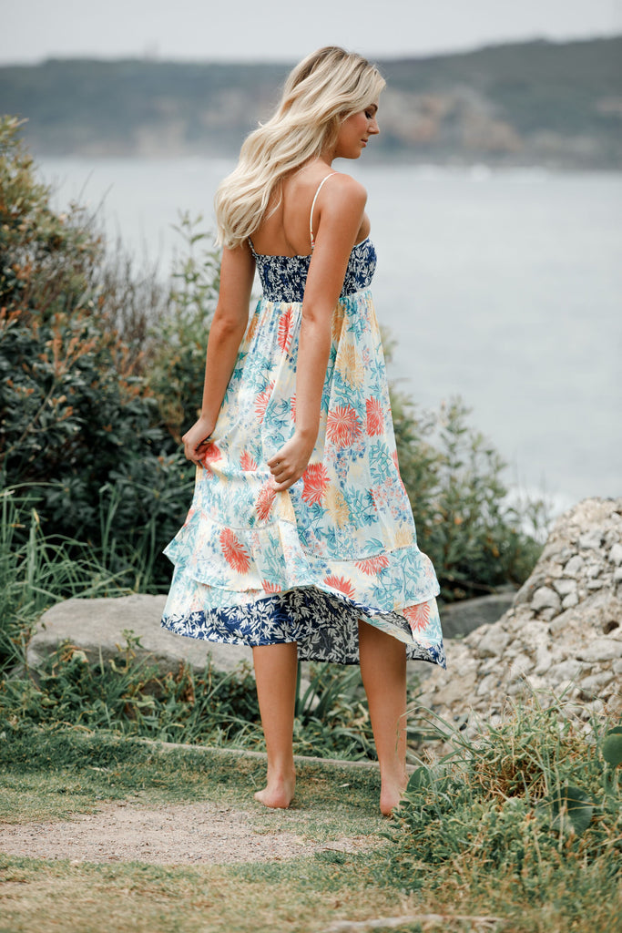 Contrast print Midi dress Calli in Coastal Love Print