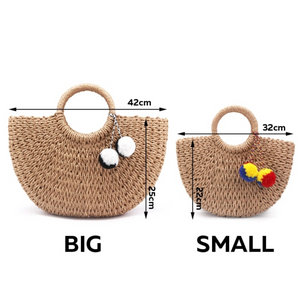 Arc Straw bag with pompoms