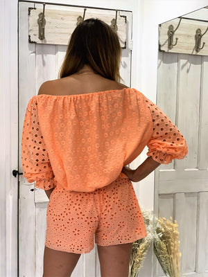 Lace Crochet Top Monaco in Neon Coral