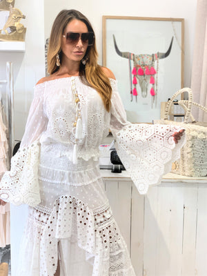 Off Shoulder Embroidered Top Choupette