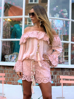 Luxury Crochet Shorts in Rose