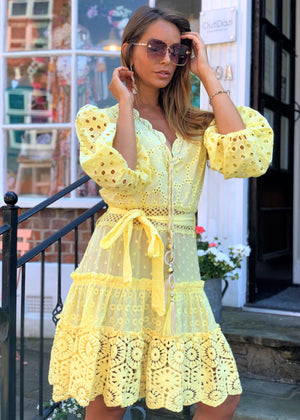 Embroidered Dress Fairytale Anglaise in Yellow