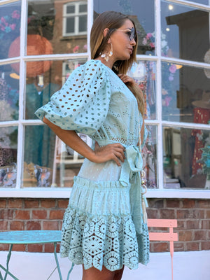 Embroidered Dress Fairytale Anglaise in Blue