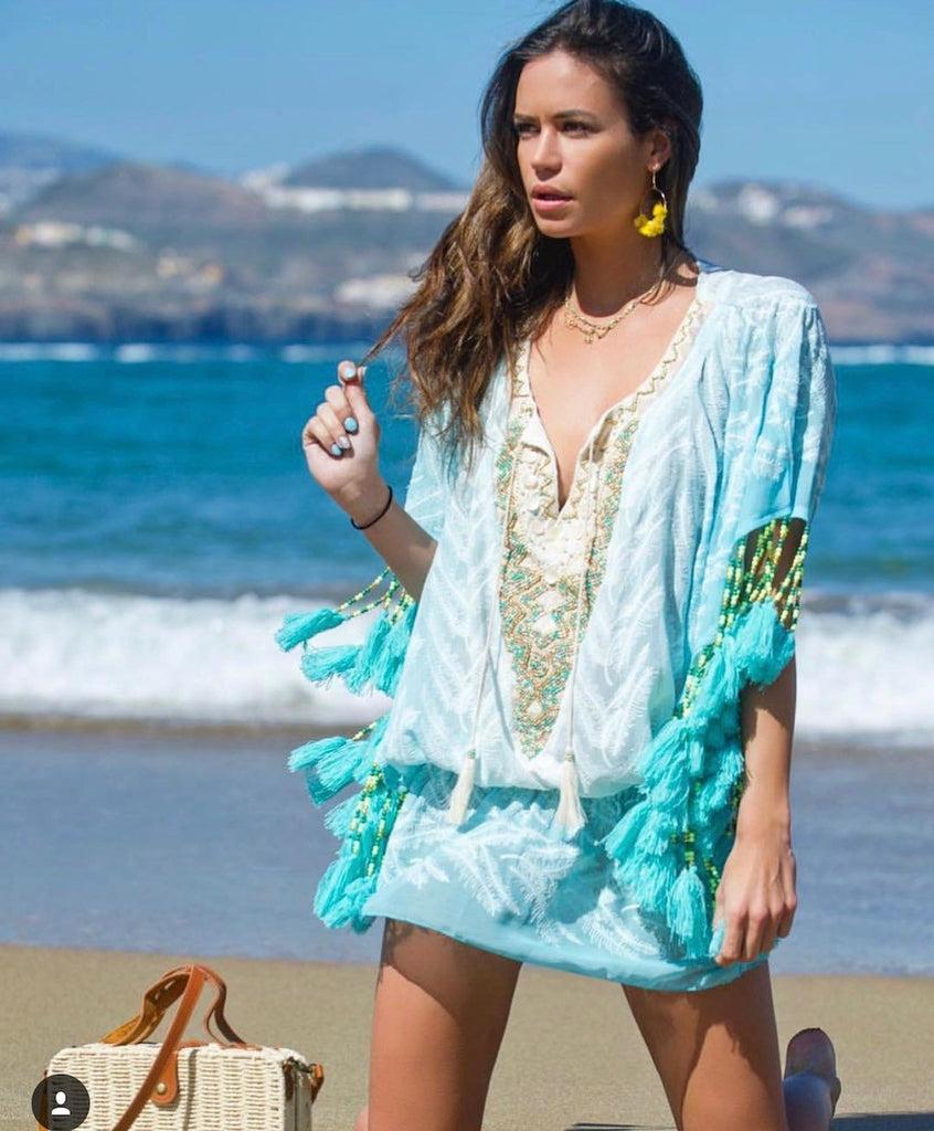 Turquoise Ombre Kaftan Alessandra with beaded tassels
