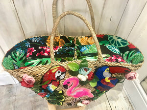 Large Embellished Straw bag Rio