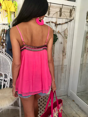 Silky Chiffon Top Megan in Hot Pink