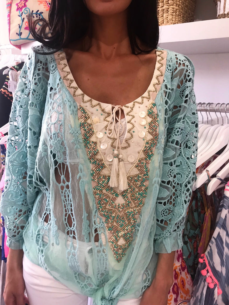 Sheer Lace Cold Shoulder Top Opera in Blue