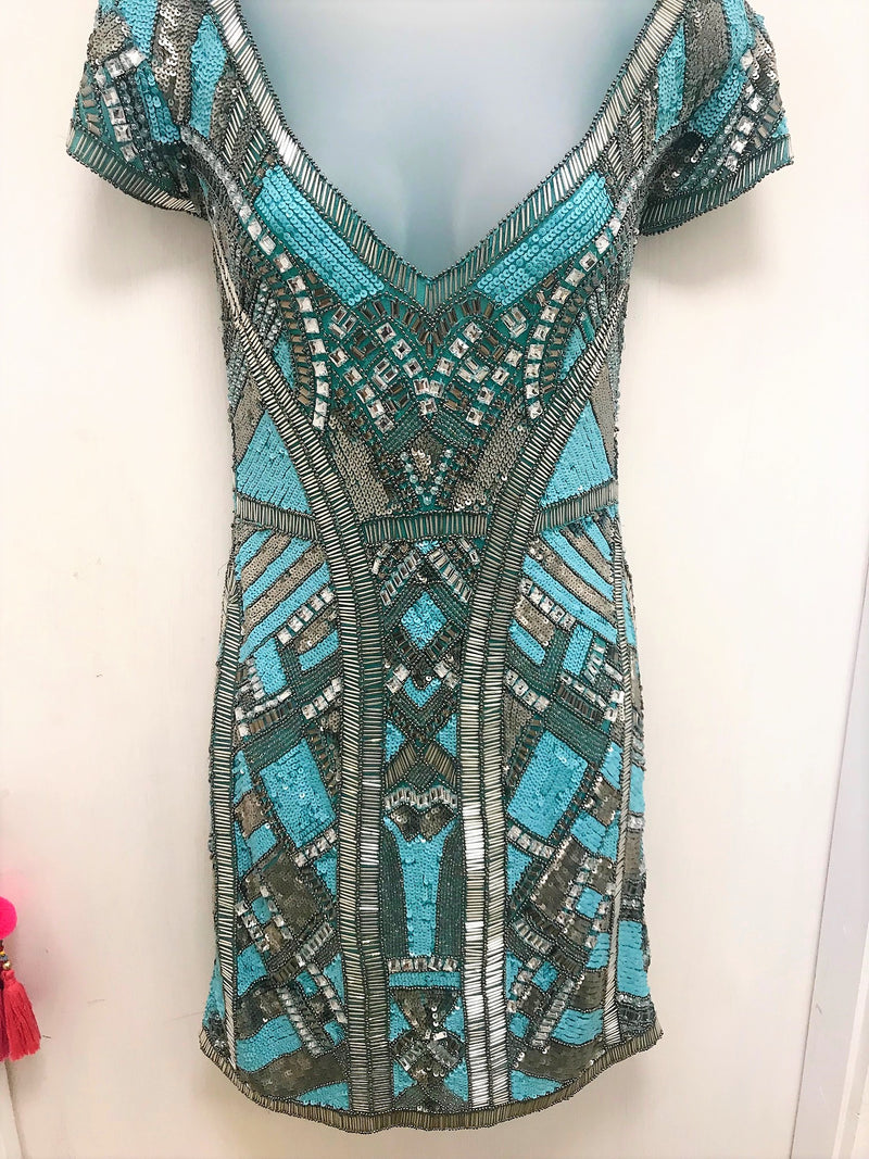Luxury Mini Dress by Diamond for Eden in Turquoise