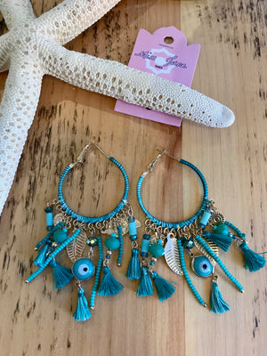 Miss June Evil Eye Tassel Earrings