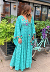 Kimono Sleeve Maxi embroidery Dress Aria in Turquoise