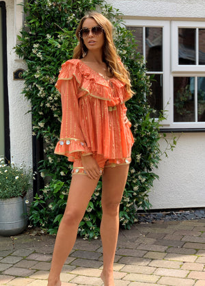 Top And Shorts Set Dreamer in Coral