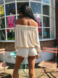 Cream Lace Embellished beaded shorts Perla