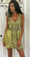 Diamond for Eden Beaded Mini dress in yellow