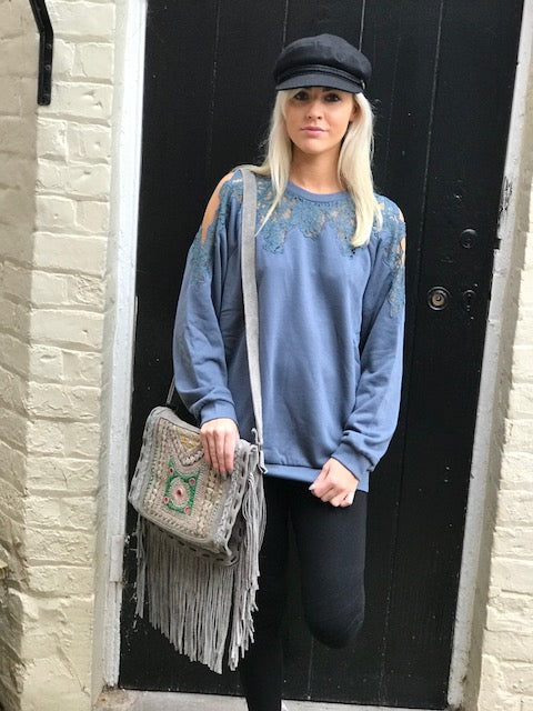 Miss June Suede leather grey Fringe Bag