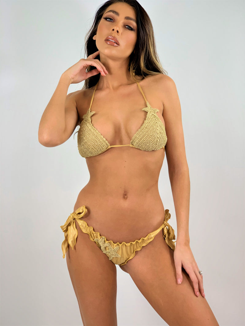 Gold Crochet Triangle bikini Set Stella
