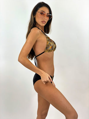Black/Gold Triangle Embellished Bikini Set
