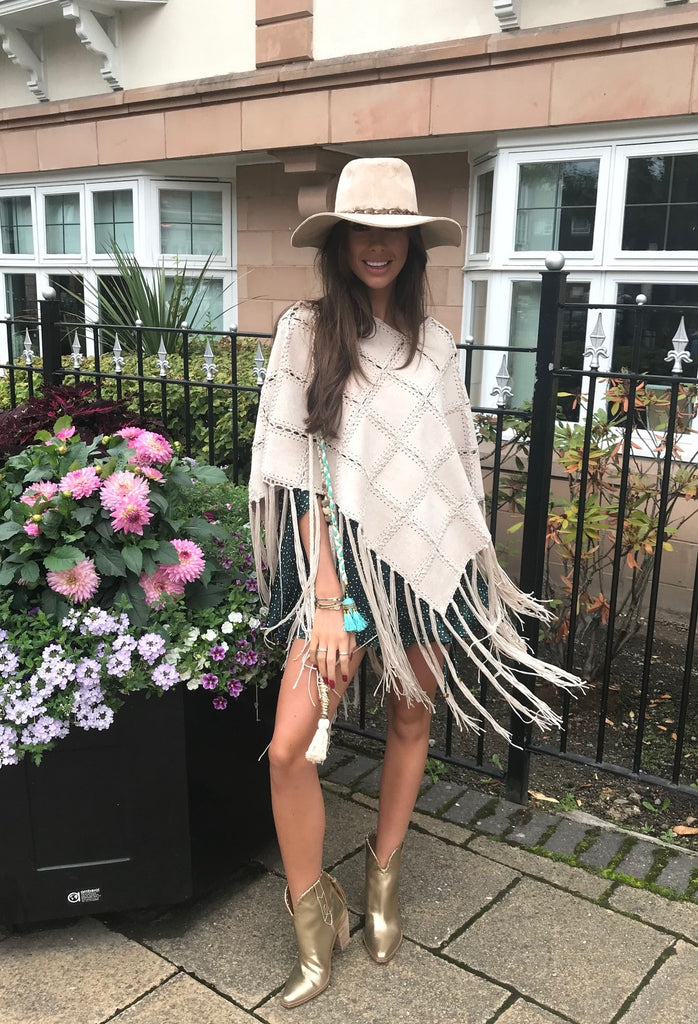 Fringed Suedette Poncho