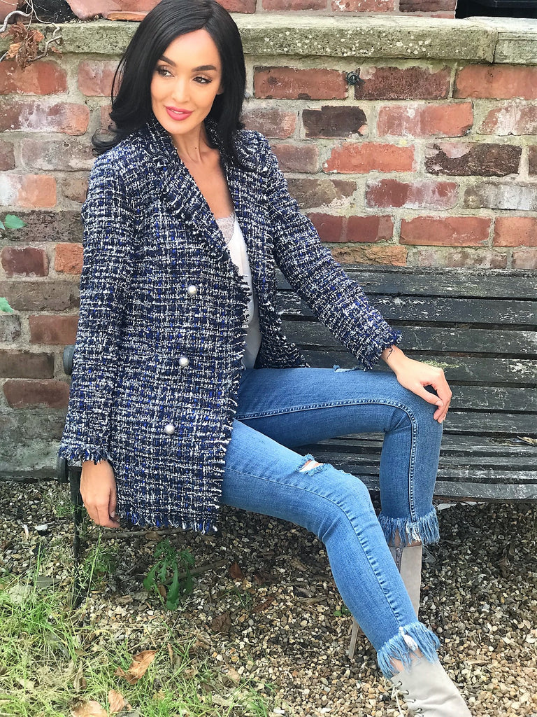 Navy Tweed Coat with Pearl Buttons