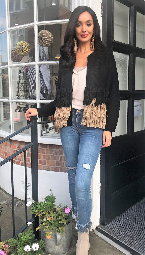 Boho Knit Cardican with fringing in Black