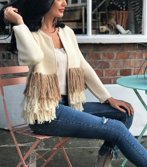 Boho Knit Cardican with fringing in Cream