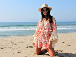 Lace Embellished Kaftan Tunic Coco in Neon coral